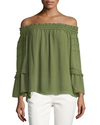 Max Studio Off The Shoulder Tiered Blouse Green
