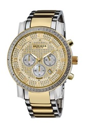 Akribos Xxiv Men's Diamond Quartz Chronograph Watch Metallic