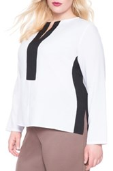 Eloquii Colorblock Split Neck Blouse Plus Size White