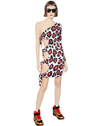 Maria Escote Leopard Print Techno Jersey Knot Dress