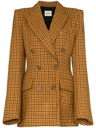 Khaite Darla Checked Double Breasted Blazer Brown