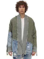 Greg Lauren Army Denim Puffy Kimono Sweatshirt Green