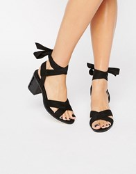 Truffle Collection Tie Ankle Mid Heel Sandals Black Mix