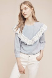 Anthropologie Kitterby Ruffle Top Blue