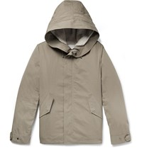 Yves Salomon Cotton Blend Hooded Down Parka With Detachable Shearling And Satin Lining Brown