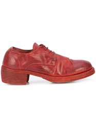 Guidi Lace Up Heeled Shoes Red
