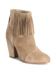 Rag And Bone Newbury Fringe Suede Booties Camel Black