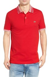 Lacoste Men's Semi Fancy Stretch Polo Red White