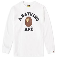 A Bathing Ape Long Sleeve College Tee White