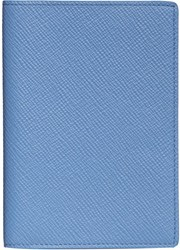 Smythson Panama Passport Cover Blue