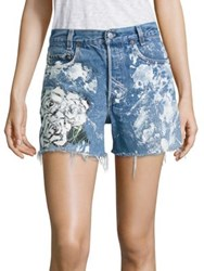 Rialto Jean Project 501 Splatter Rose Graphic Cut Off Denim Shorts Blue