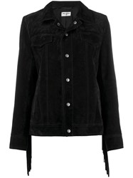 Saint Laurent Snap Fastening Fringed Jacket Black