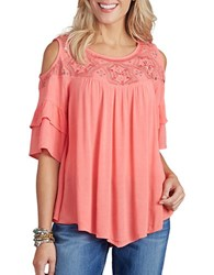 Democracy Missy Embroidered Cold Shoulder Top Hibiscus