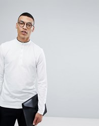 Selected Homme Long Sleeve Grandad Top Bright White