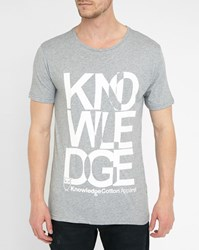 Knowledge Cotton Apparel Grey Knowledge Logo Organic Cotton Round Neck T Shirt