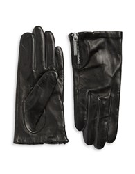 Michael Kors Zip Cuff Leather Gloves Black