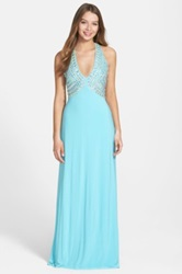 Hailey Logan Embellished Halter Gown Juniors Blue