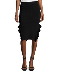 Opening Ceremony Ruffle Trim Ponte Pencil Skirt Black