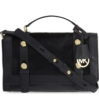 Michael Michael Kors Collins Medium Studded Calf Hair Messenger Bag Black