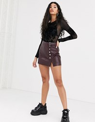 Bershka Faux Leather Mini Skirt With Button Detail In Red
