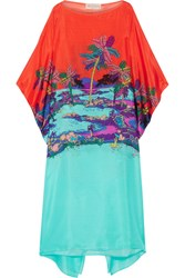 Emilio Pucci Printed Silk Kaftan Light Blue