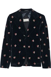 Maison Martin Margiela Embroidered Velvet Blazer Midnight Blue