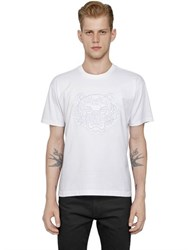 Kenzo Mesh Tiger Embroidered Cotton T Shirt