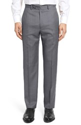 Santorelli Men's Big And Tall Flat Front Twill Wool Trousers Medium Grey