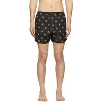 Neil Barrett Black Pattern Swim Shorts