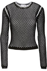 Helmut Lang Mesh Trimmed Layered Open Knit Sweater Black