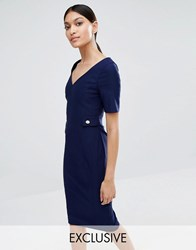 Vesper V Back Pencil Dress With Gold Button Detail Dark Navy