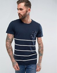 Pull And Bear Pullandbear Striped T Shirt With Contrast Pocket In Navy Navy Blue