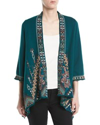 Johnny Was Nala Embroidered Knit Draped Cardigan Peacock