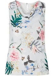 Dorothy Perkins Billie And Blossom Grey Floral Print Cowl Front Top