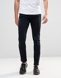 Cheap Monday Tight Skinny Jeans Abyss Black Knee Rips Abyss