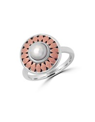 Effy Pearl Lace Sterling Silver And 18K Rose Gold Ring