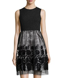 Julia Jordan Sleeveless Tulle Skirt Cocktail Dress Black