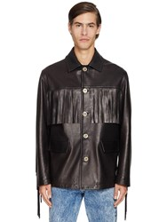 Versace Fringed Leather Jacket Black