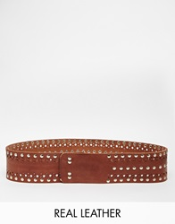 Park Lane Wide Hip Belt With Studding Tan