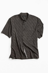 Urban Outfitters Uo Ditsy Triangle Short Sleeve Button Down Shirt Black