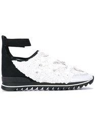 No Ka' Oi Embellished Ankle Strap Sneakers Women Leather Nylon Pvc Rubber 38 White