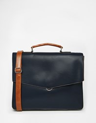 River Island Envelope Workbag In Faux Leather Navy