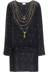 Camilla Woman Layered Embellished Silk Chiffon And Crepe De Chine Tunic Black