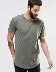 Only And Sons Longline T Shirt With Wide Neck Oil Green