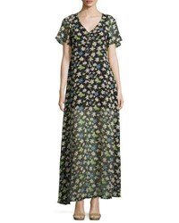 Lucca Couture Libby Floral Print Chiffon Maxi Dress Black