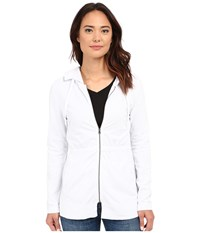 Mod O Doc Lightweight Cashmere French Terry Cinched Waist Hooded Jacket White Women's Coat