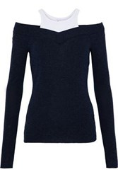 Bailey 44 Theme Park Cold Shoulder Jersey Paneled Stretch Knit Sweater Midnight Blue