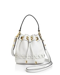 Milly Small Astor Whipstitch Drawstring Bucket Bag White