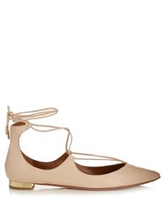 Aquazzura Christy Leather Flats Nude