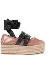 Miu Miu Leather Trimmed Satin Platform Espadrilles Antique Rose